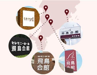 下関市に展開する飛鳥会館の地図